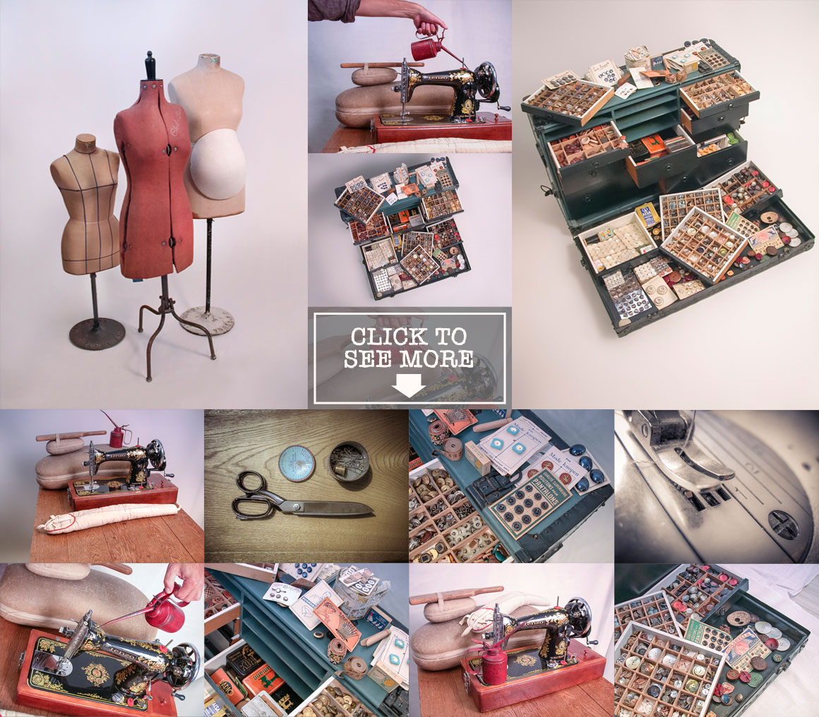 vintage fashion equipment photo set